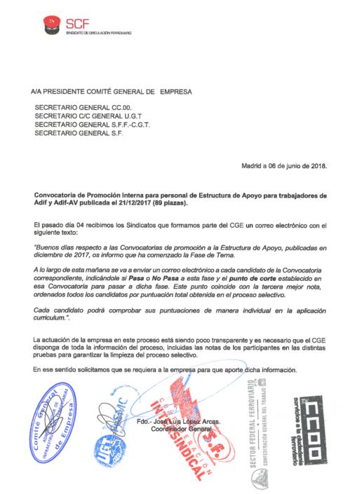 El SCF ha vuelto a reclamar que se hagan públicas las notas de los exámenes para los puestos de Estructura de Apoyo, en pro de que los procesos selectivos sean los más transparente posible. Consulta la carta dirigida al Comité General de Empresa.
